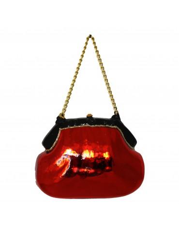 Rød håndtaske m/guldkæde